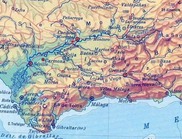 Carte Andalousie Relief.Andalousie Une Promenade Dans Le Temps Des Mozarabes Au