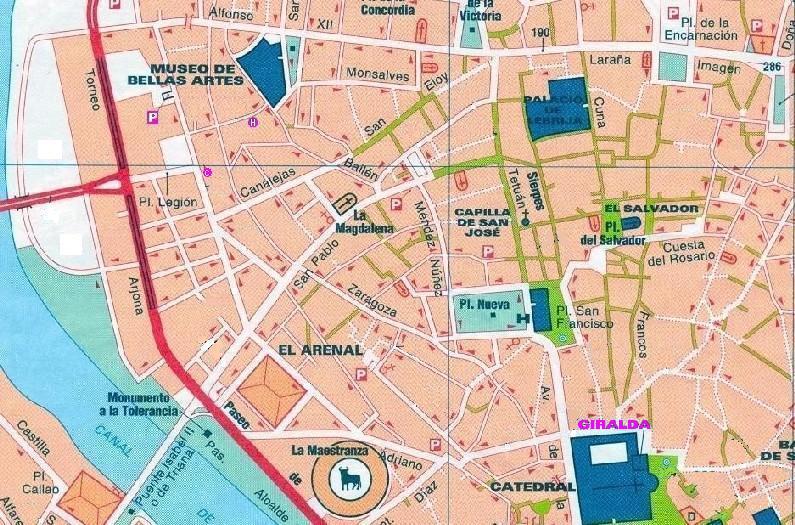 Ville de seville carte vacances arts guides voyages - Office du tourisme d espagne ...
